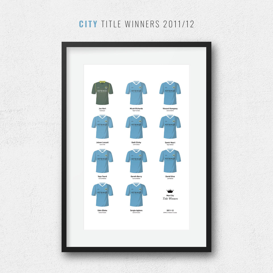 City 2012 Title Winners Football Team Print - Good Team On Paper