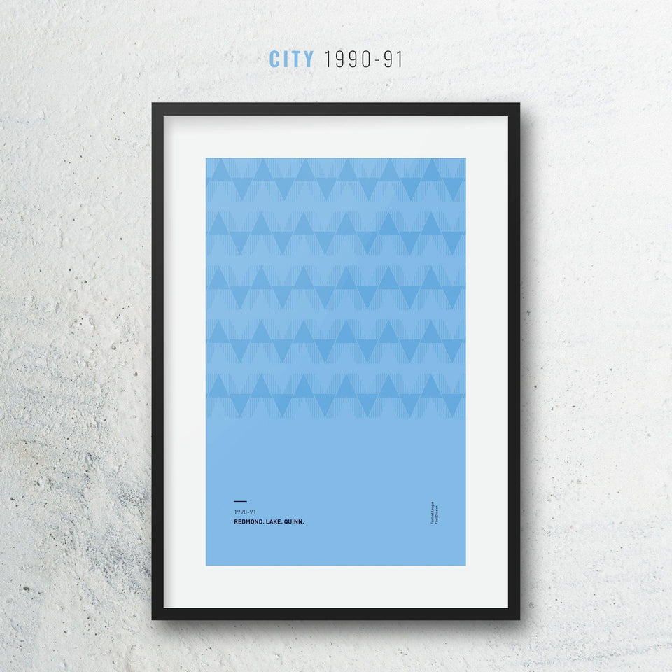 City 1990-91 Iconic Football Kit Pattern Print