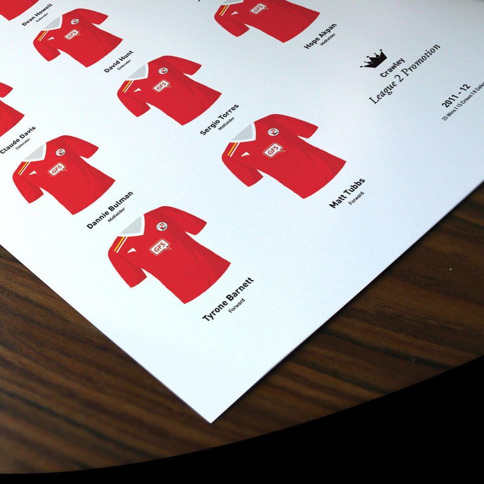 Crawley 2012 League 2 Promotion Football Team Print - Good Team On Paper