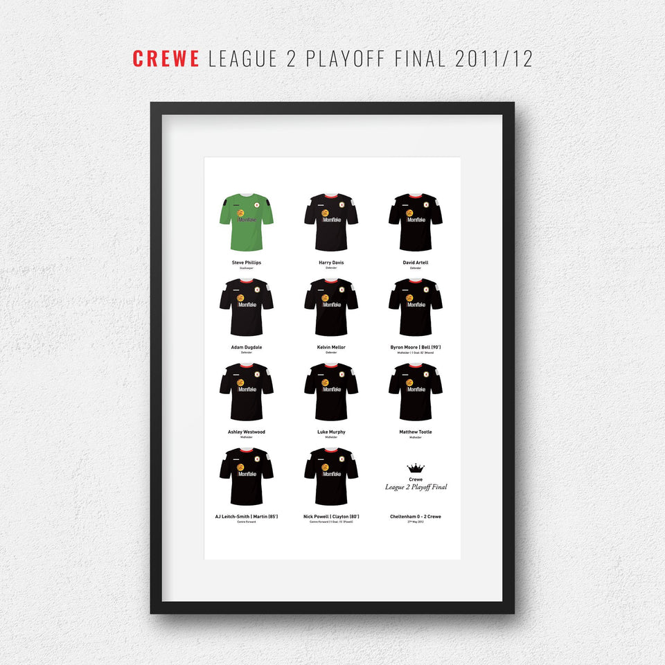 Crewe 2012 League 2 Playoff Winners Football Team Print-Good Team On Paper