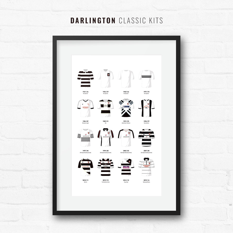 Darlington Classic Kits Football Team Print-Good Team On Paper