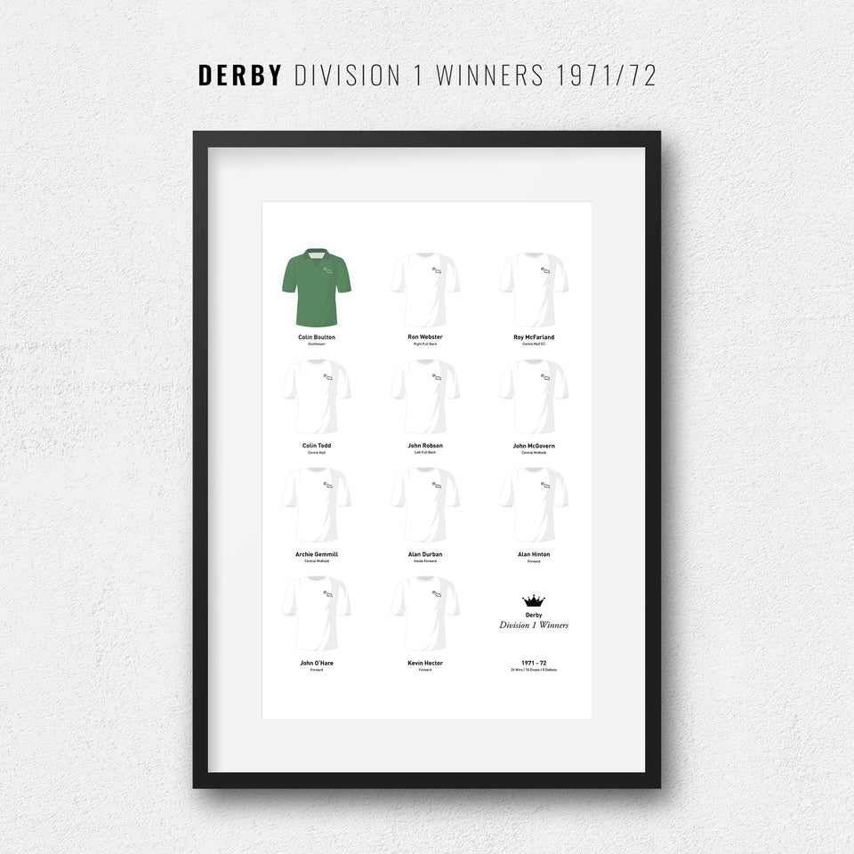 Derby 1971 Division 1 Winners Football Team Print - Good Team On Paper