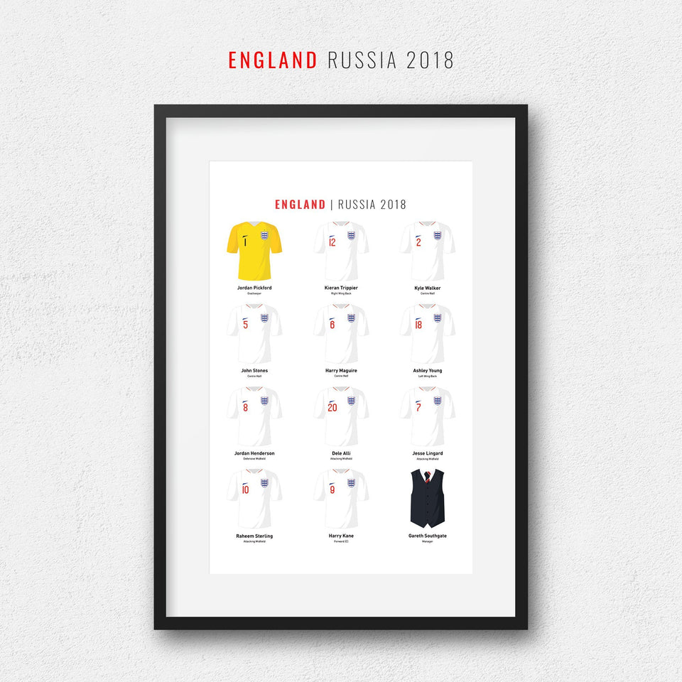 England 2018 Russia World Cup Football Team Print - Good Team On Paper