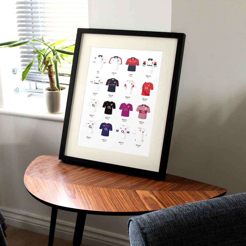 England Classic Kits Rugby Union Team Print - Good Team On Paper
