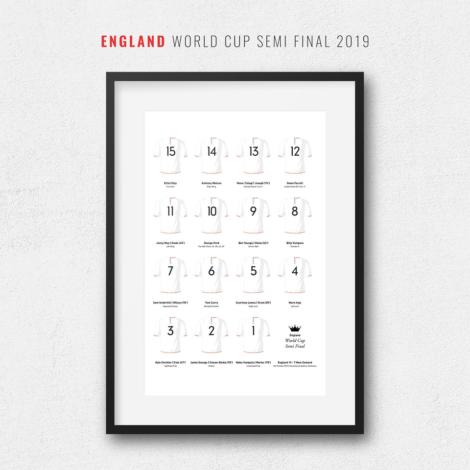 England Rugby Union 2019 World Cup Semi Final Team Print