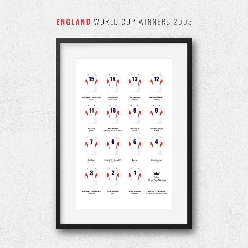 England Rugby Union 2003 World Cup Winners Team Print