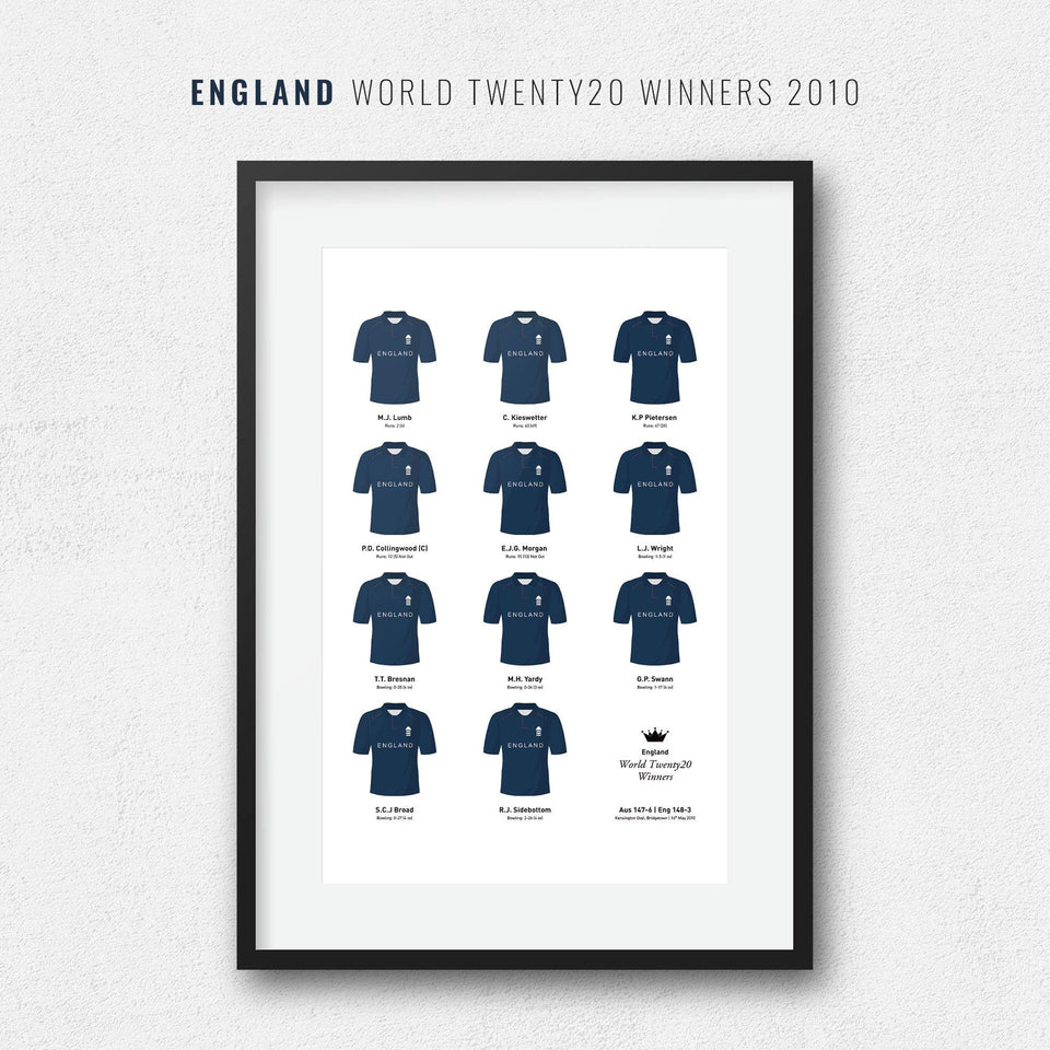 England Cricket 2010 World Twenty20 Winners Team Print