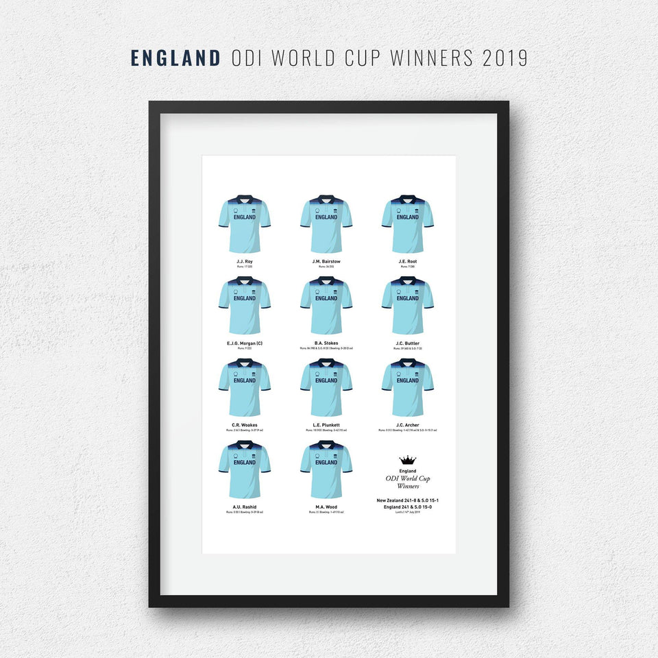 England Cricket 2019 World Cup Winners Team Print