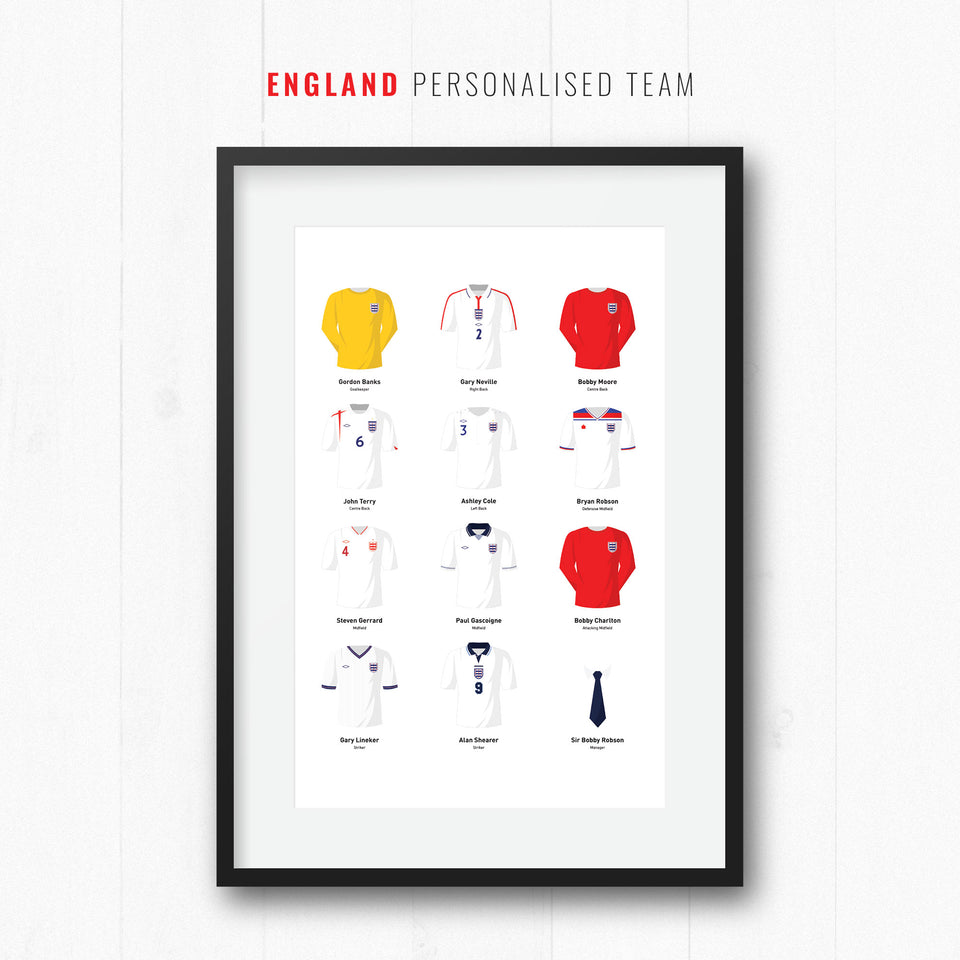 PERSONALISED England Football Team Print