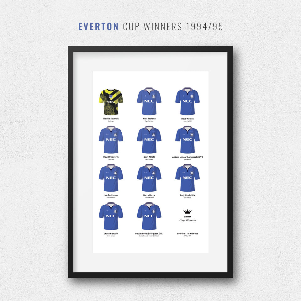 Everton 1995 Cup Winners Football Team Print - Good Team On Paper