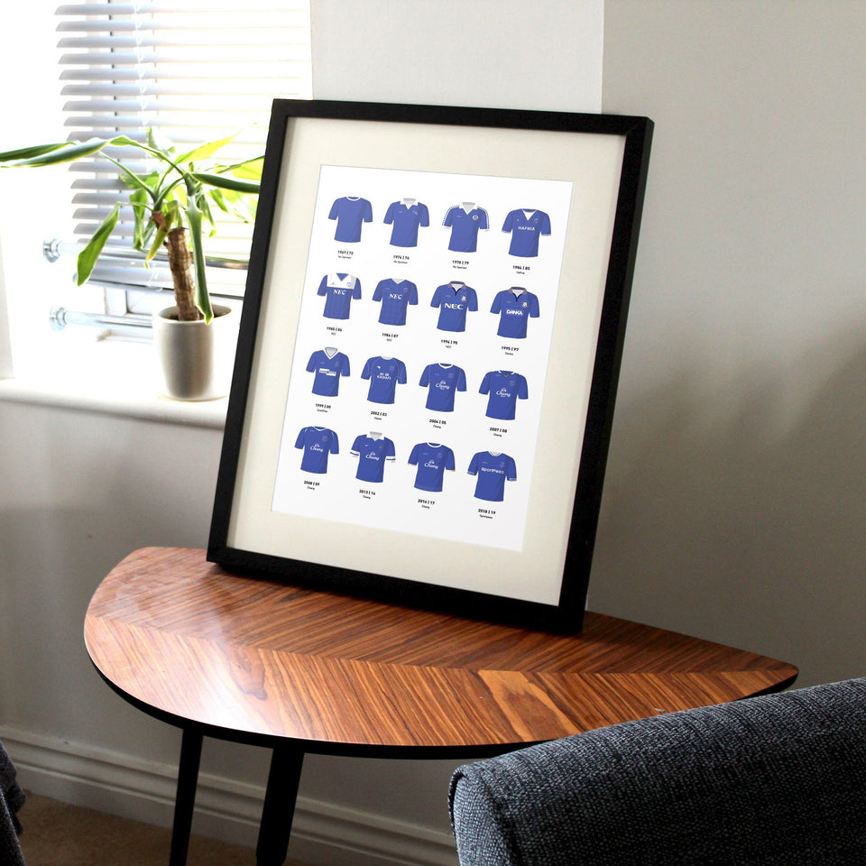 Everton Classic Kits Football Team Print - Good Team On Paper