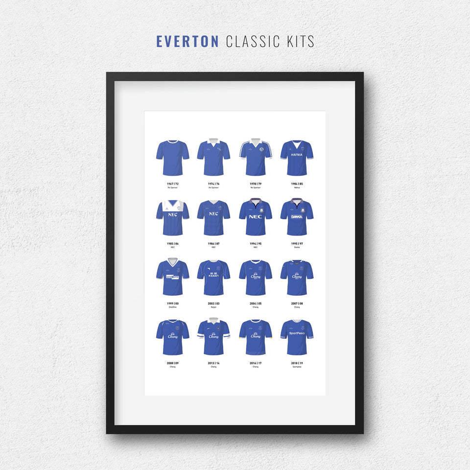 Everton Classic Kits Football Team Print-Good Team On Paper