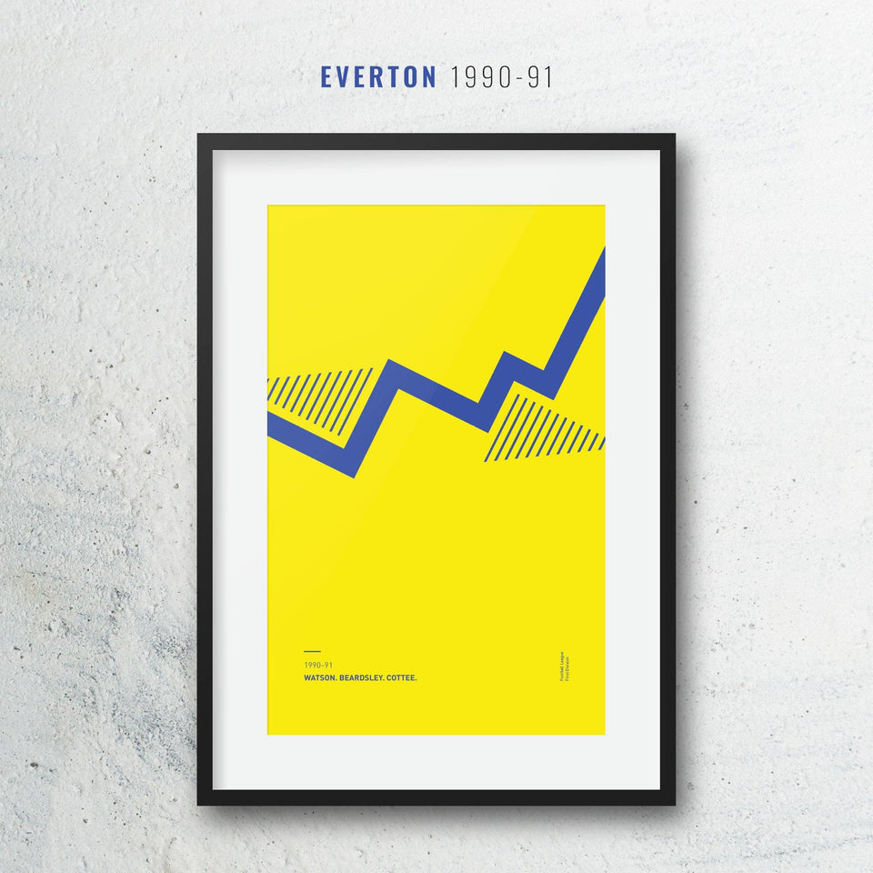 Everton 1990-91 Iconic Football Kit Pattern Print