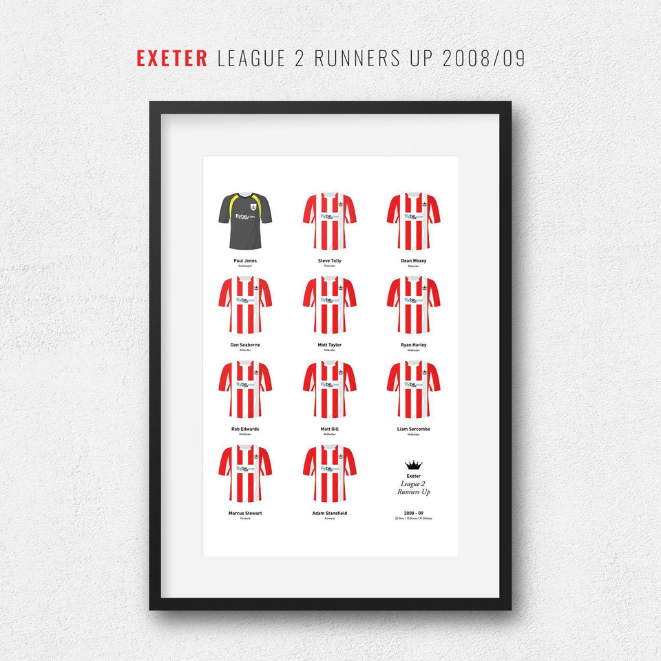 Exeter 2009 League 2 Promotion Football Team Print - Good Team On Paper