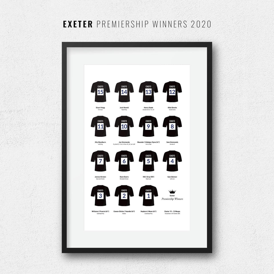 Exeter Rugby Union 2020 Premiership Winners Team Print