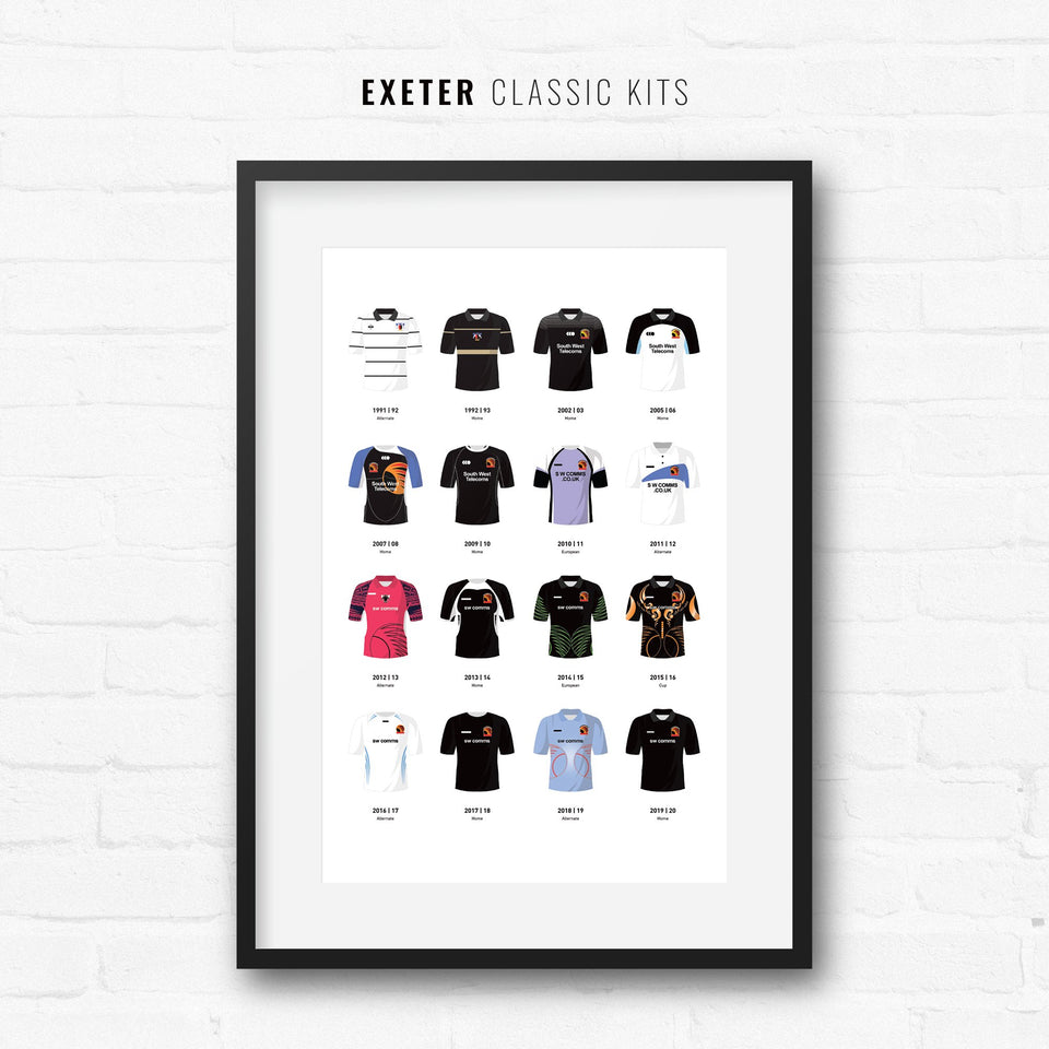 Exeter Classic Kits Rugby Union Team Print - Good Team On Paper