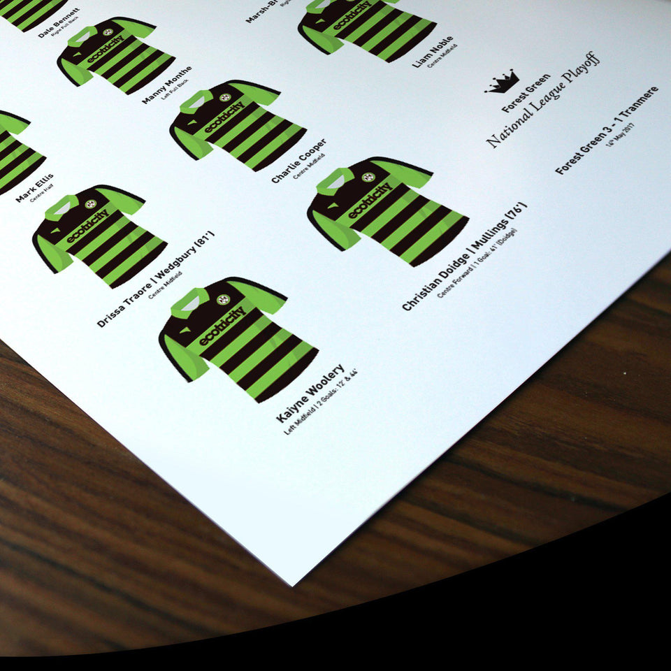 Forest Green 2017 National League Playoff Winners Football Team Print - Good Team On Paper