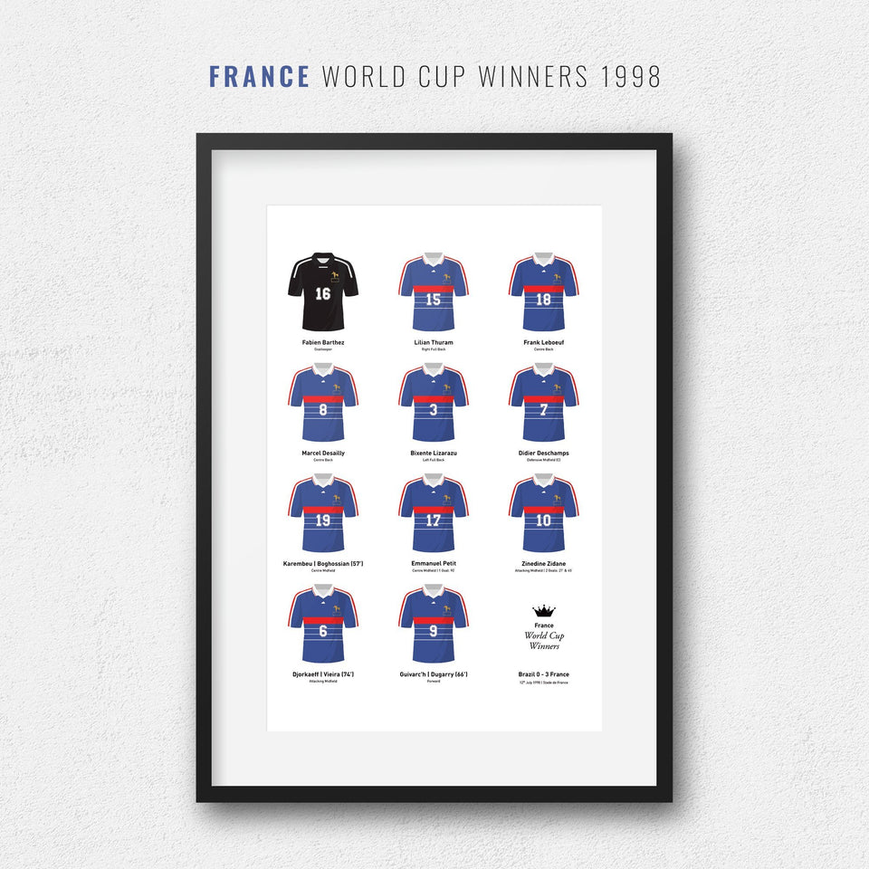 France 1998 World Cup Winners Football Team Print - Good Team On Paper