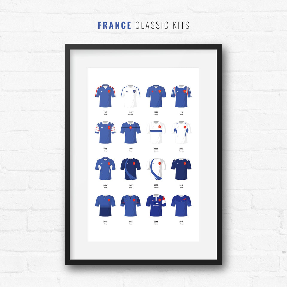 France Classic Kits Rugby Union Team Print - Good Team On Paper