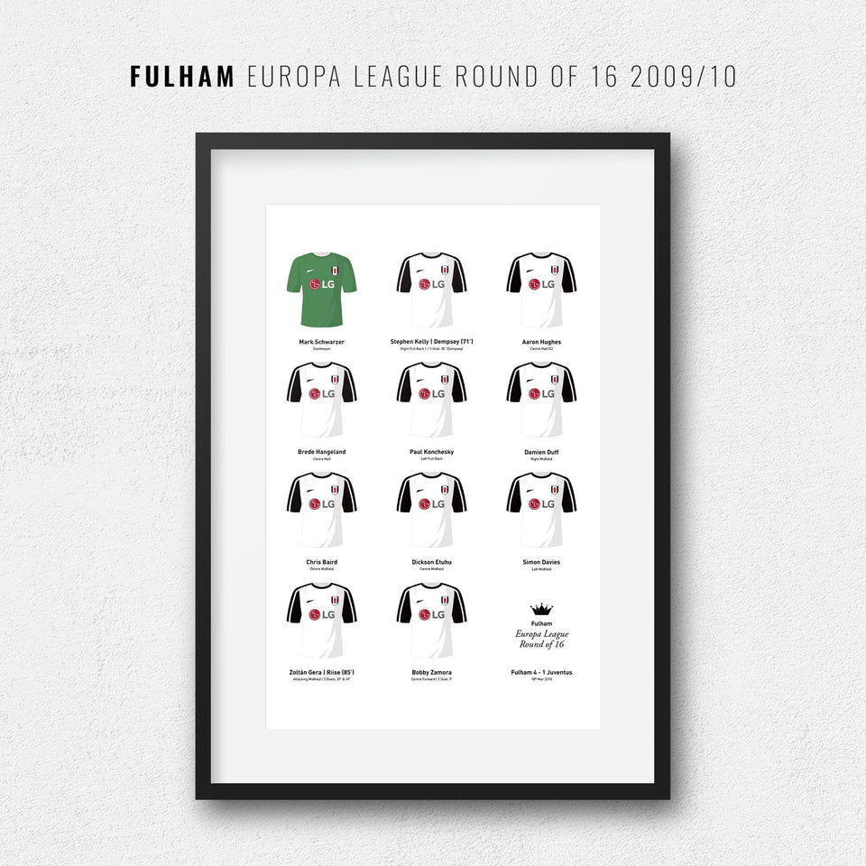 Fulham 2010 Last 16 Europa League Football Team Print