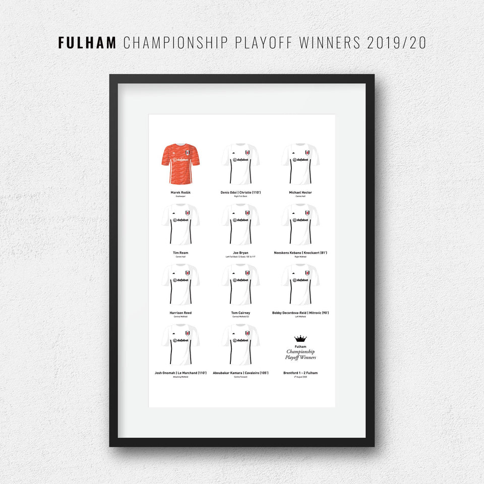 Fulham 2020 Championship Playoff Winners Football Team Print - Good Team On Paper