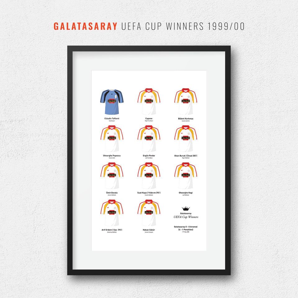 Galatasaray 2000 Uefa Cup Winners Football Team Print-Good Team On Paper