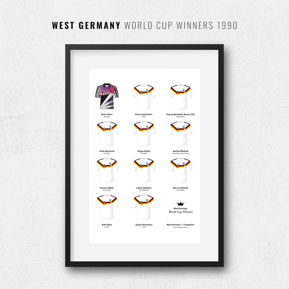 Germany 1990 World Cup Winners Football Team Print - Good Team On Paper
