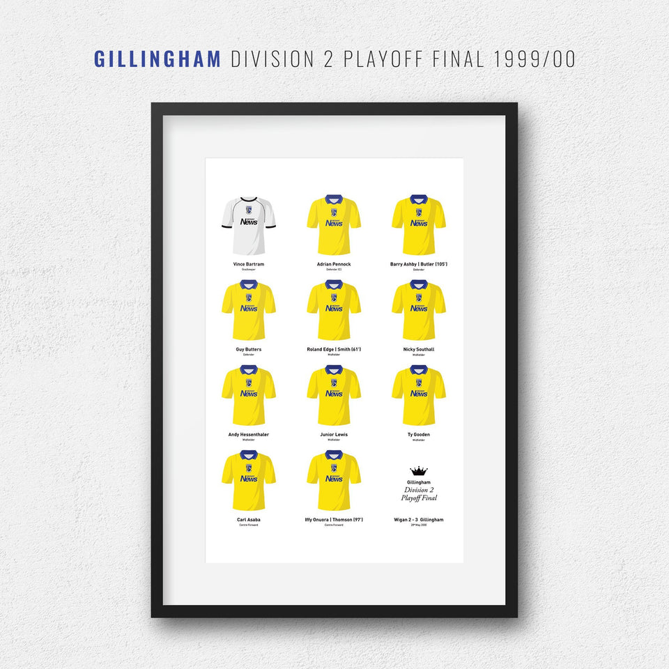 Gillingham 2000 Division 2 Playoff Winners Football Team Print - Good Team On Paper