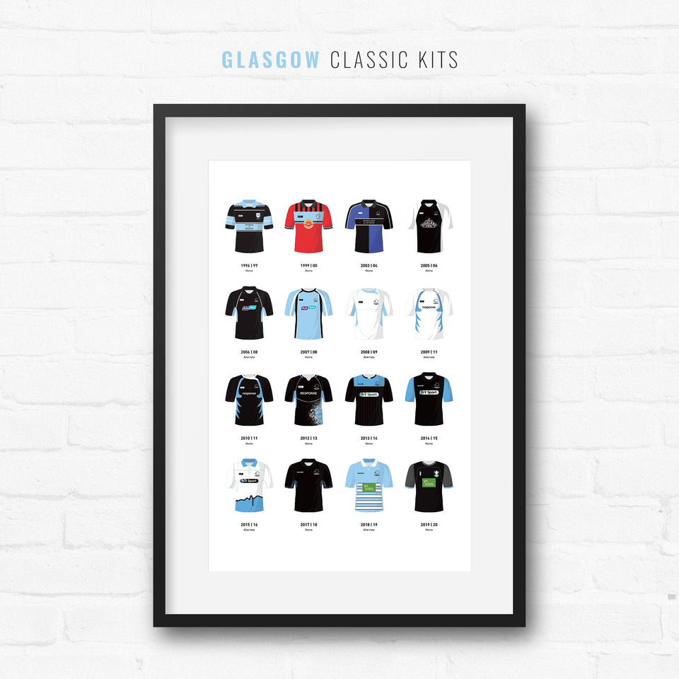 Glasgow Classic Kits Rugby Union Team Print - Good Team On Paper