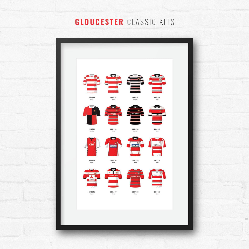 Gloucester Classic Kits Rugby Union Team Print