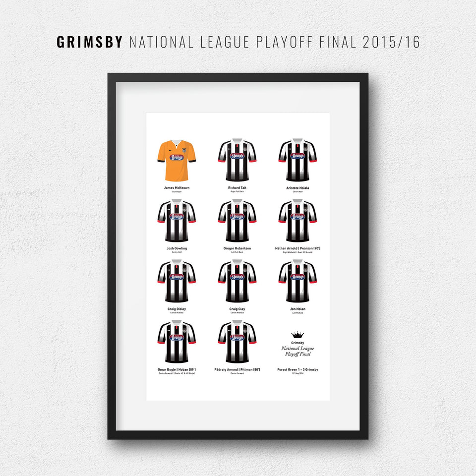 Grimsby 2016 Conference Playoff Winners Football Team Print - Good Team On Paper