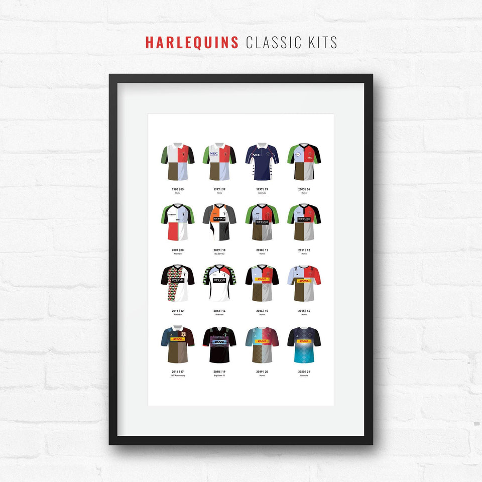 Harlequins Classic Kits Rugby Union Team Print