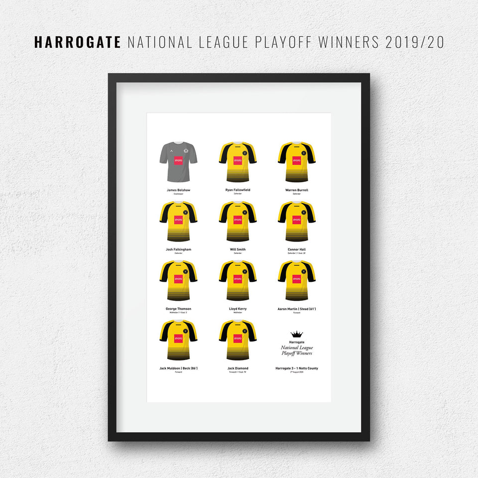 Harrogate 2020 National League Playoff Final Football Team Print - Good Team On Paper
