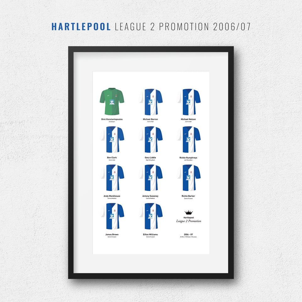 Hartlepool 2007 League 2 Promotion Winners Football Team Print - Good Team On Paper