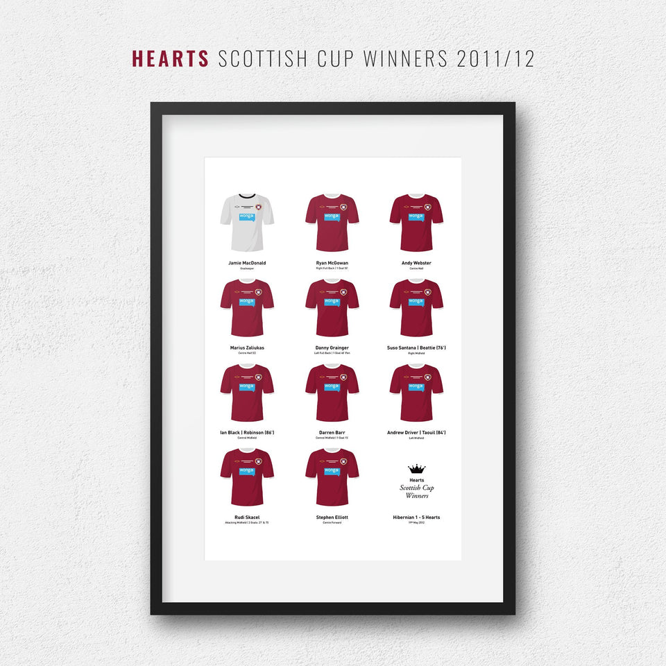 Hearts 2012 Scottish Cup Winners Football Team Print - Good Team On Paper