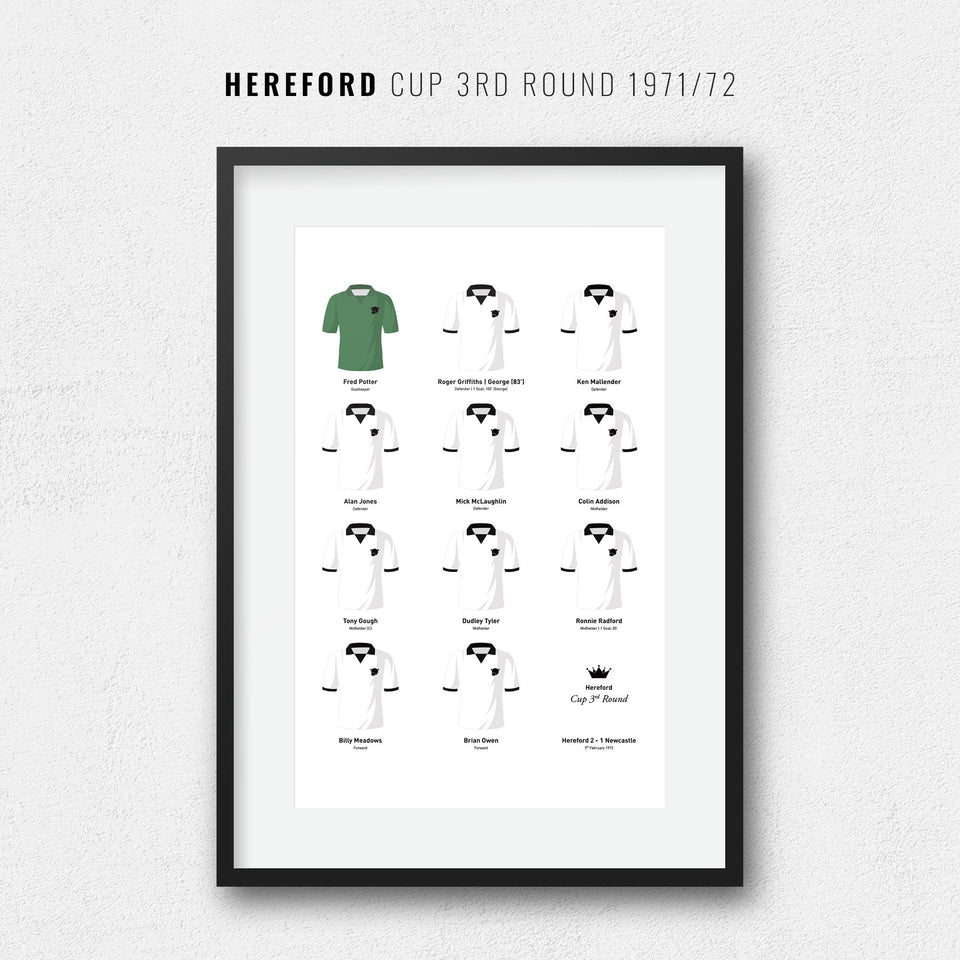 Hereford 1972 Cup 3rd Round Football Team Print - Good Team On Paper
