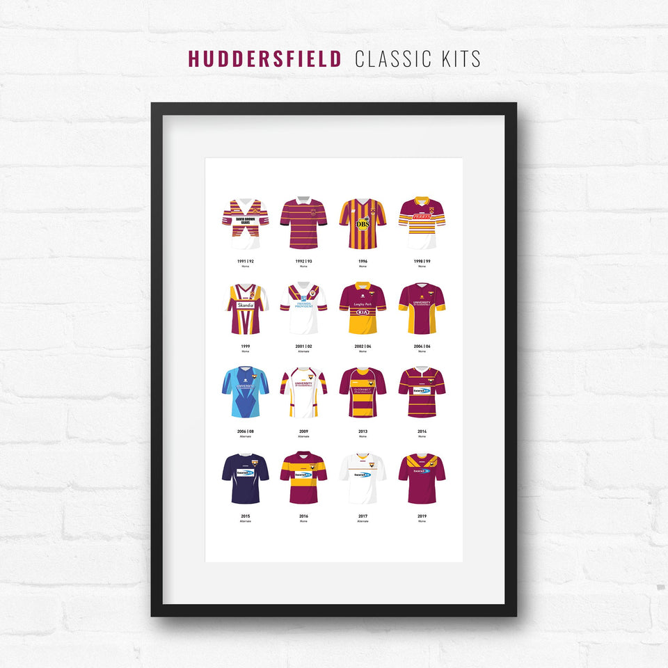 Huddersfield Classic Kits Rugby League Team Print - Good Team On Paper