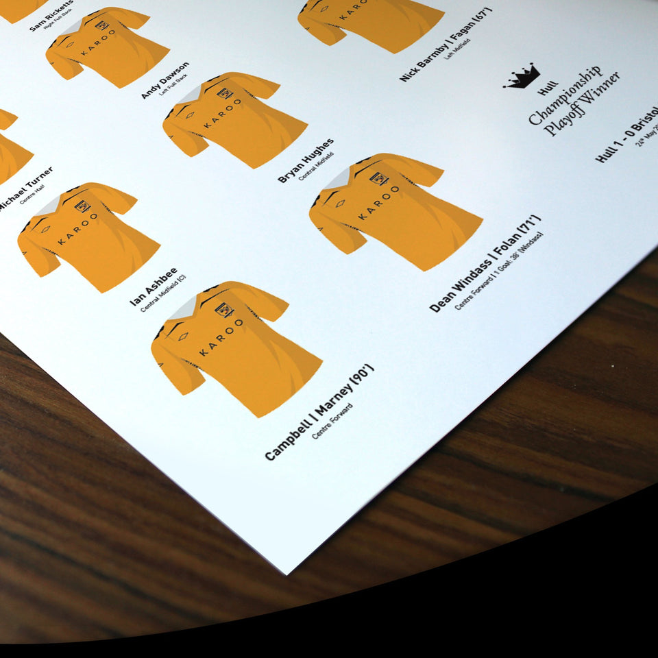 Hull 2008 Championship Playoff Final Football Team Print - Good Team On Paper