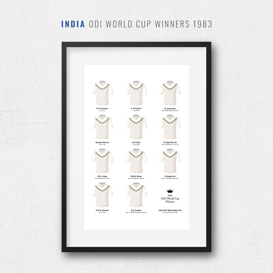 India Cricket 1983 World Cup Winners Team Print