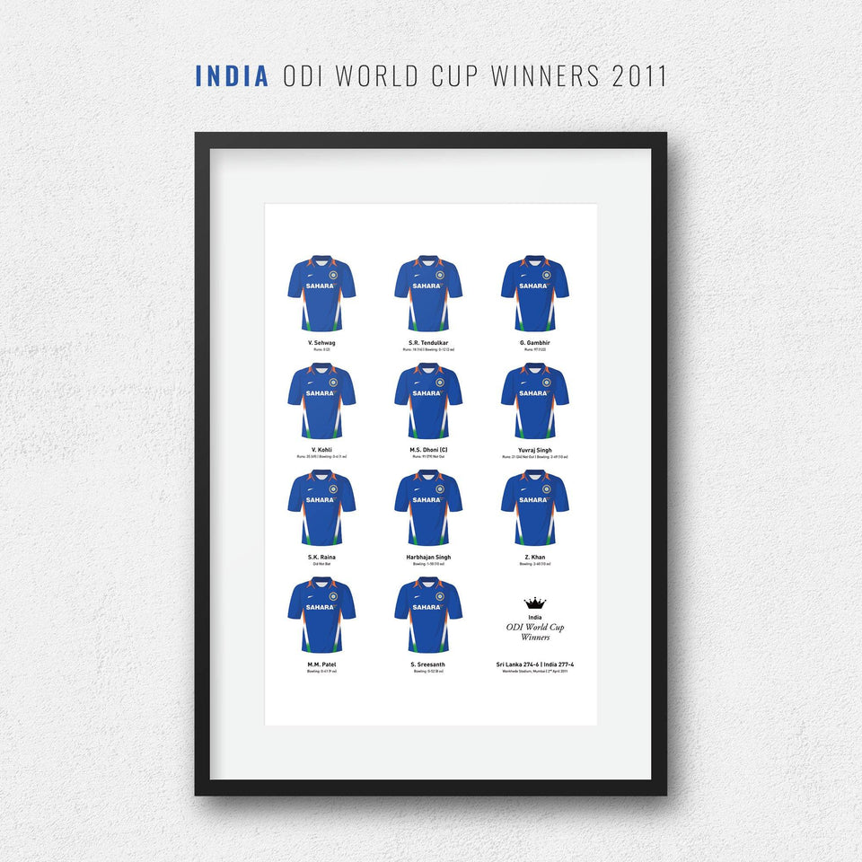 India Cricket 2011 World Cup Winners Team Print