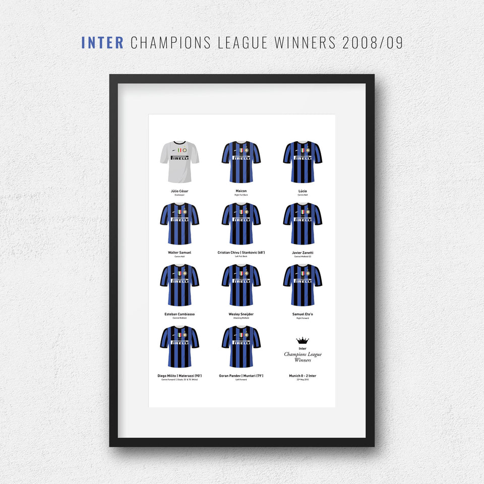 Inter 2010 Champions League Winners Football Team Print - Good Team On Paper
