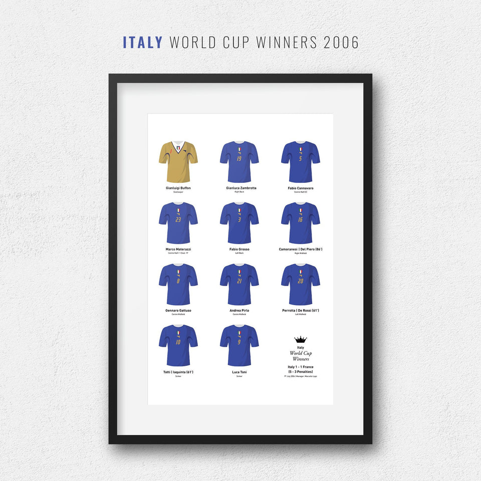 Italy 2006 World Cup Winners Football Team Print