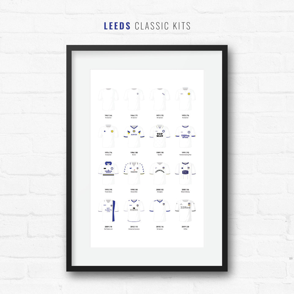 Leeds Classic Kits Football Team Print - Good Team On Paper
