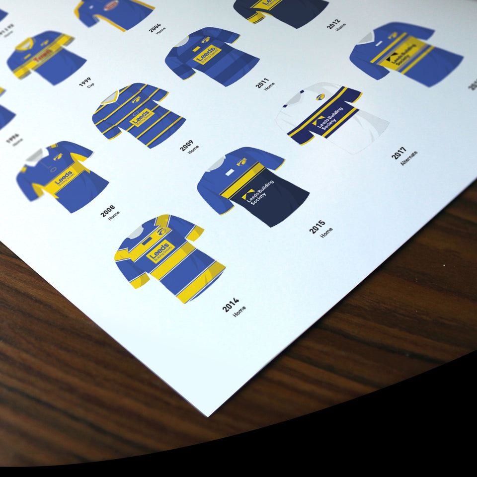 Leeds Classic Kits Rugby League Team Print - Good Team On Paper