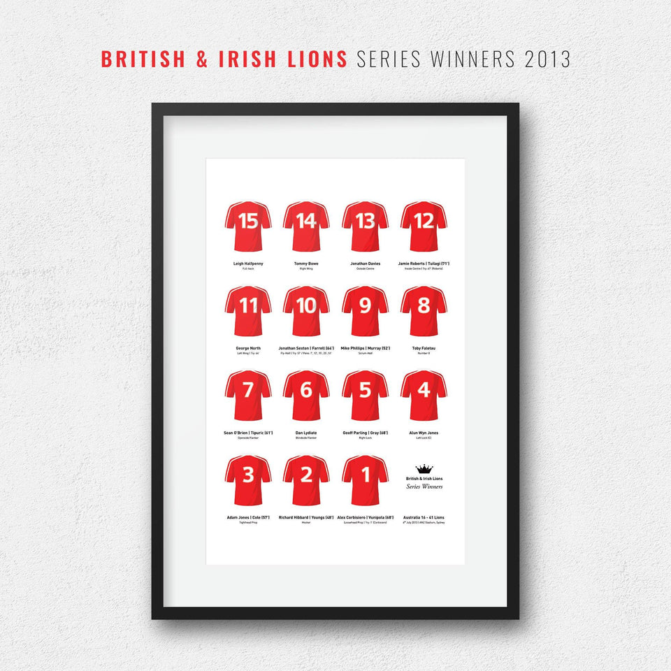 Lions Rugby Union 2013 Series Winners Team Print