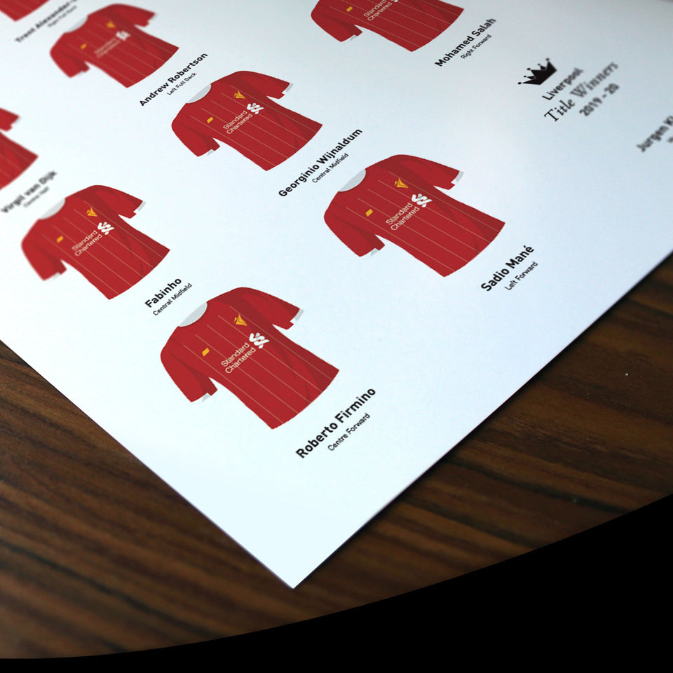 Liverpool 2020 Title Winners Football Team Print - Good Team On Paper