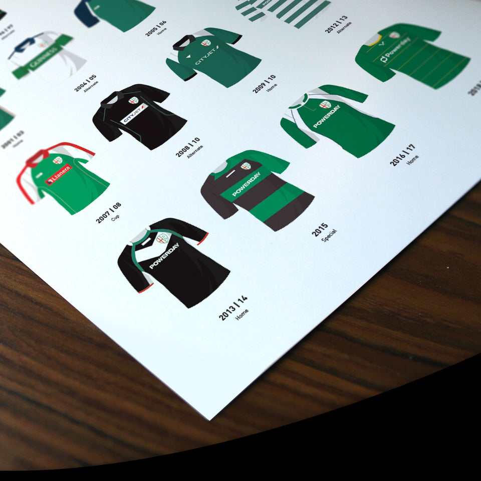 London Irish Classic Kits Rugby Union Team Print - Good Team On Paper