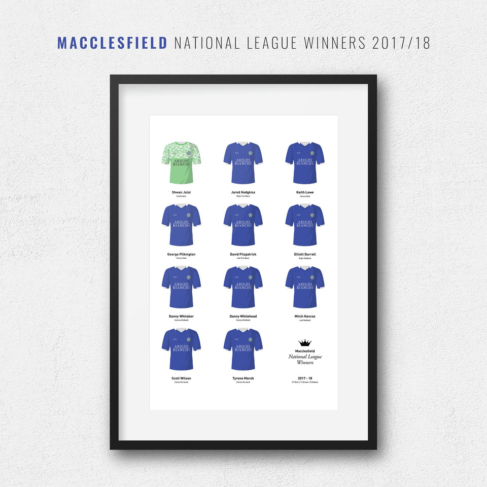 Macclesfield 2018 National League Winners Football Team Print - Good Team On Paper