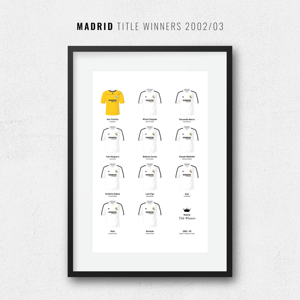 Madrid 2003 Title Winners Football Team Print - Good Team On Paper