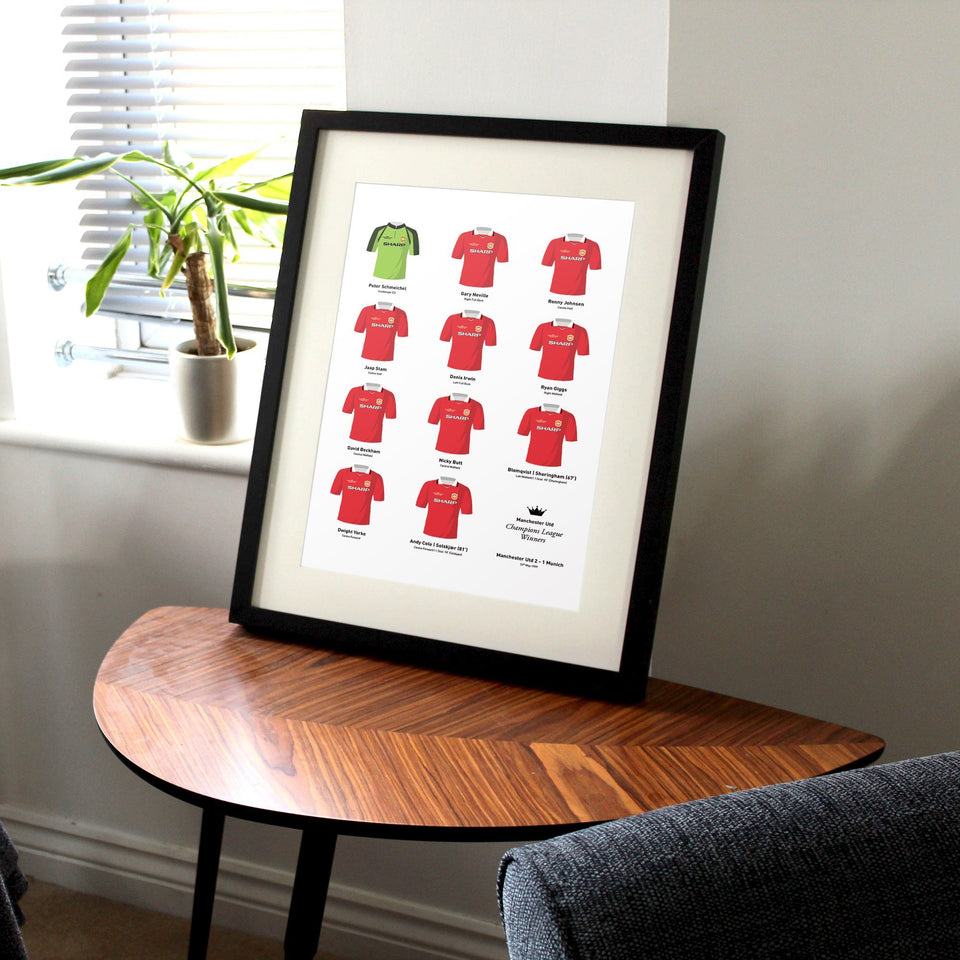 Manchester Utd 1999 Champions League Winners Football Team Print - Good Team On Paper